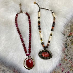 Chico's Set of 2 Statement Necklaces Natural Stone